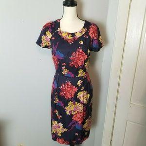 Boden Women's Floral Sheath Dress Size 4 Navy Blue